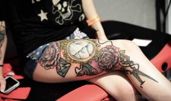 Clock And Rose Thigh Tattoo