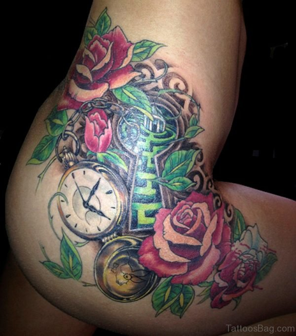 Clock And Rose Thigh Tattoo Image