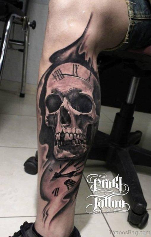 Clock And Skull Tattoo