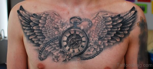 Clock And Wings Tattoo