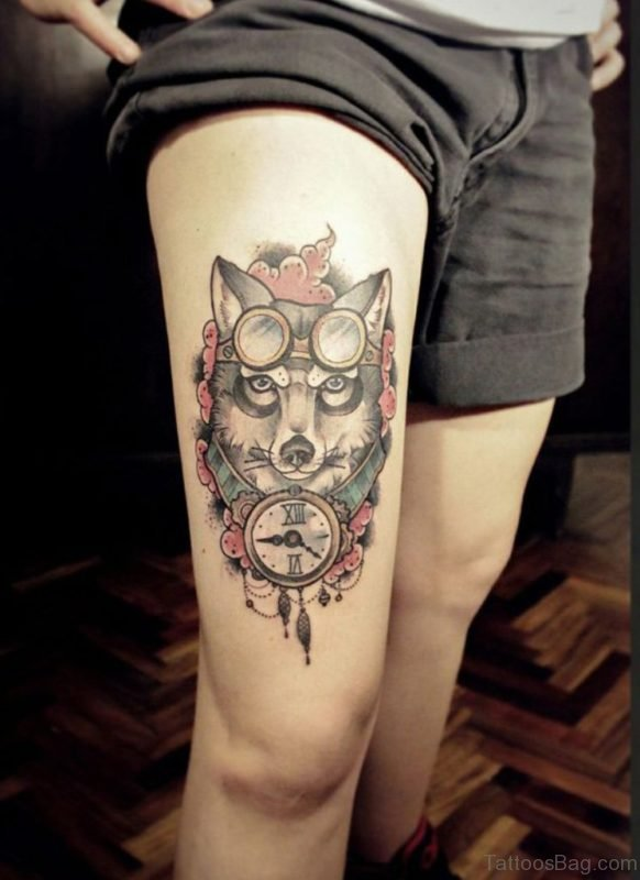 Clock And Wolf Tattoo