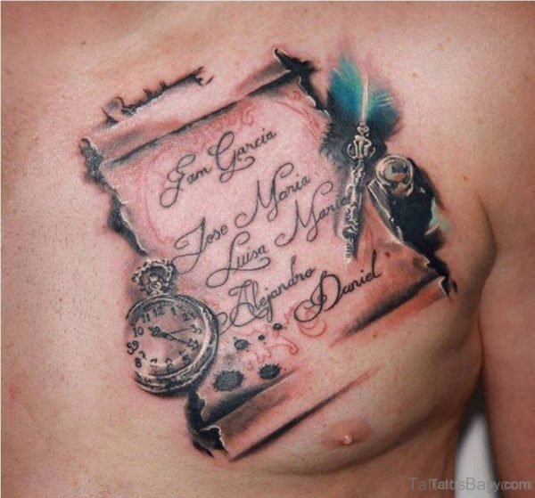 Clock And Wording Tattoo On Chest