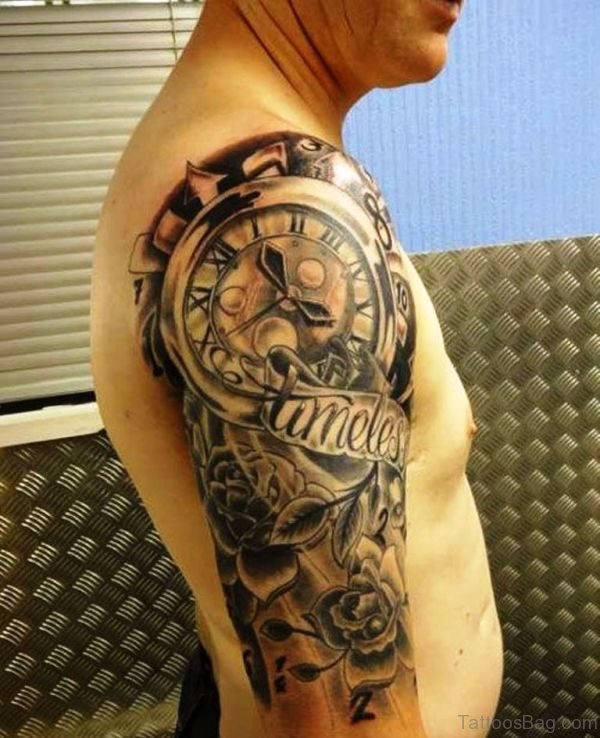 Clock Shoulder TClock Shoulder Tattoo Design attoo Design clck8033