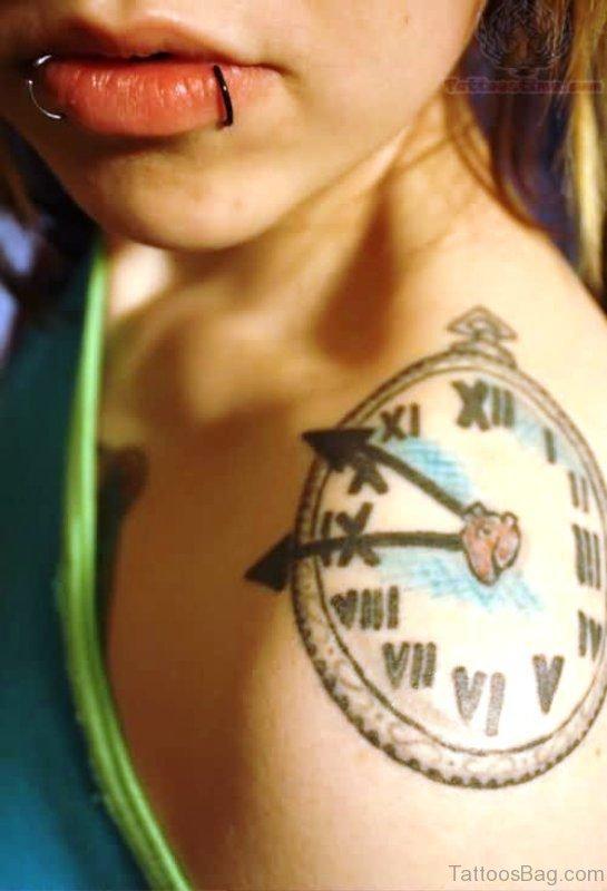 Clock Tattoo On Left Shoulder
