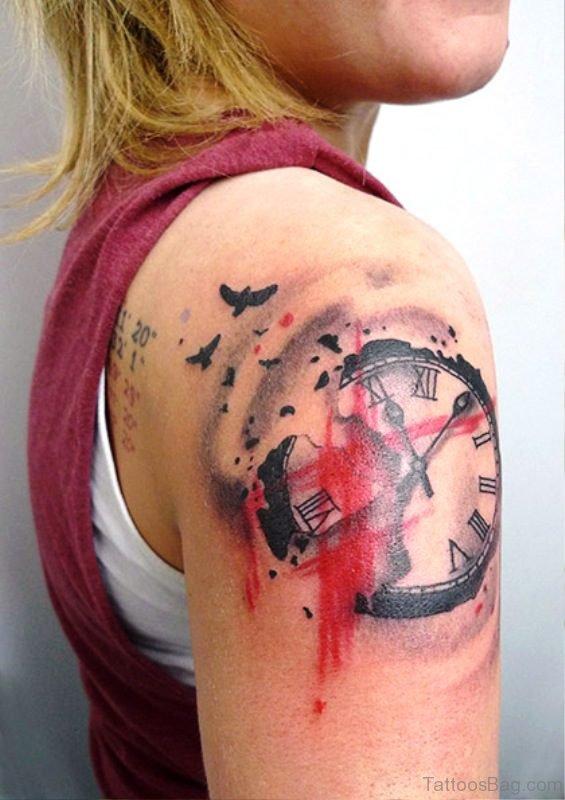 Clock Tattoo On Right Shoulder