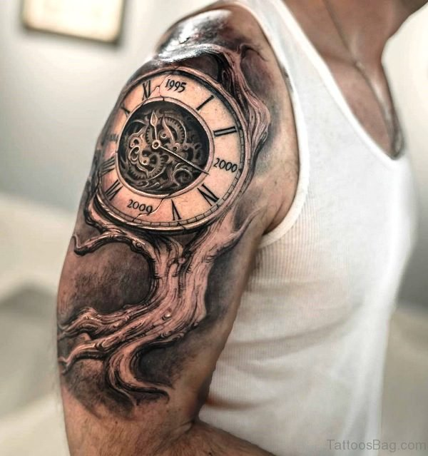 65 perfect clock tattoos on shoulder for Tree shoulder tattoo