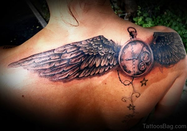 Clock With Wings Tattoo