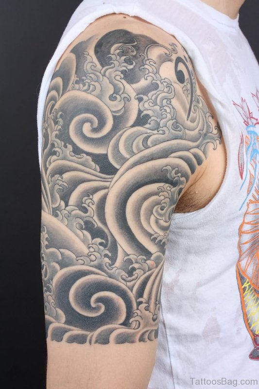 Cloud Tattoo On Right Shoulder