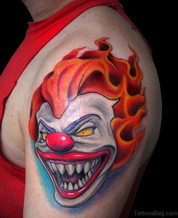 Clown Tattoo On Shoulder