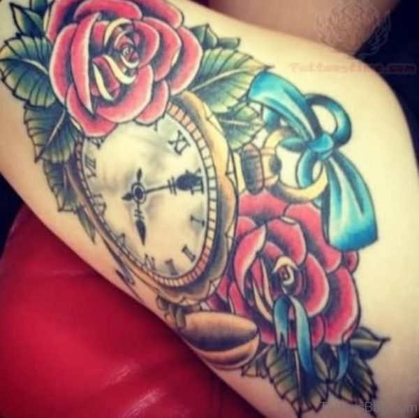 Color Flowers And Clock Tattoo