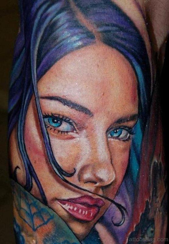 Color Girl Portrait Tattoo