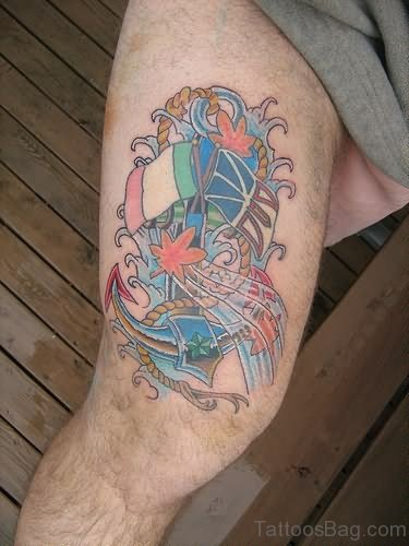 Color Ink Anchor Tattoo On Thigh