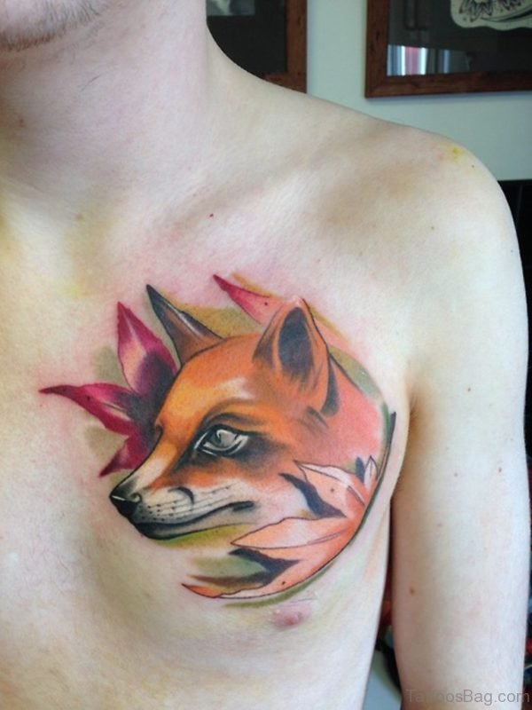 Color Ink Fox Head Tattoo On Man Chest
