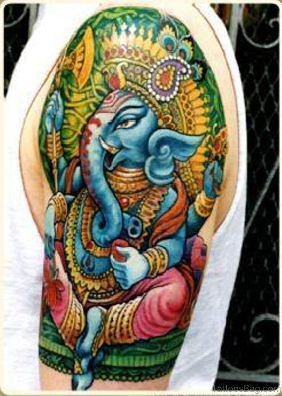 Color Ink Ganesha Tattoo