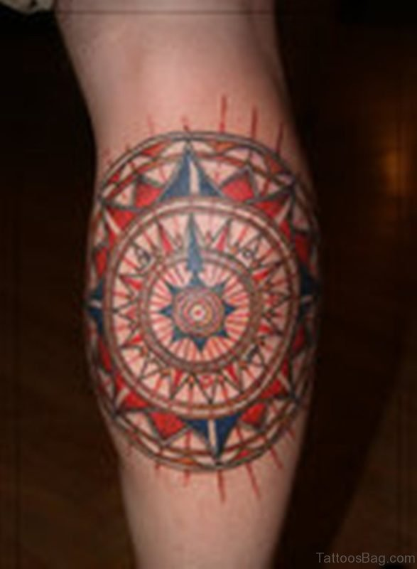Color Ink Mandala Compass Tattoo On Leg