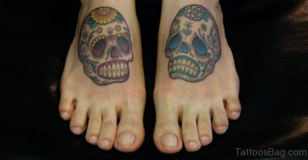Color Ink Sugar Skull Tattoos On Feet