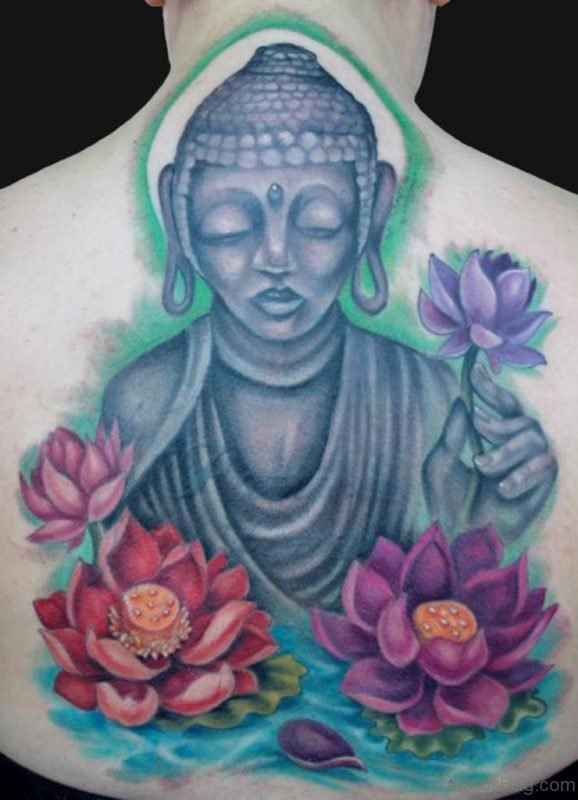 Color Lotus Flowers and Buddhist Tattoo On Back