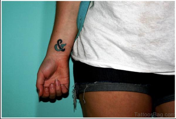 Colored Ampersand Tattoo On Wrist