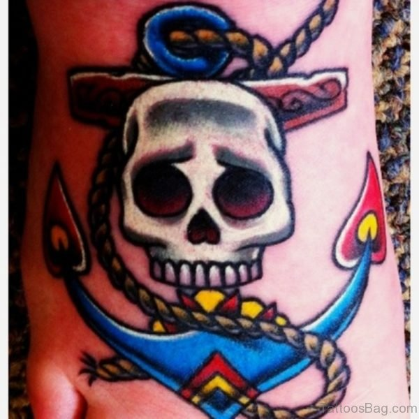Colored Anchor And Skull Tattoo