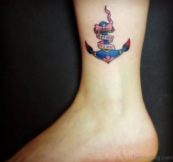 Colored Anchor Tattoo On Ankle