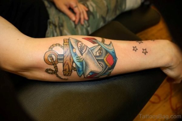 Colored Anchor Tattoo