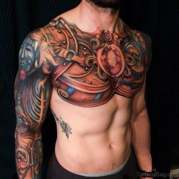Elegant Armor Tattoo On Chest