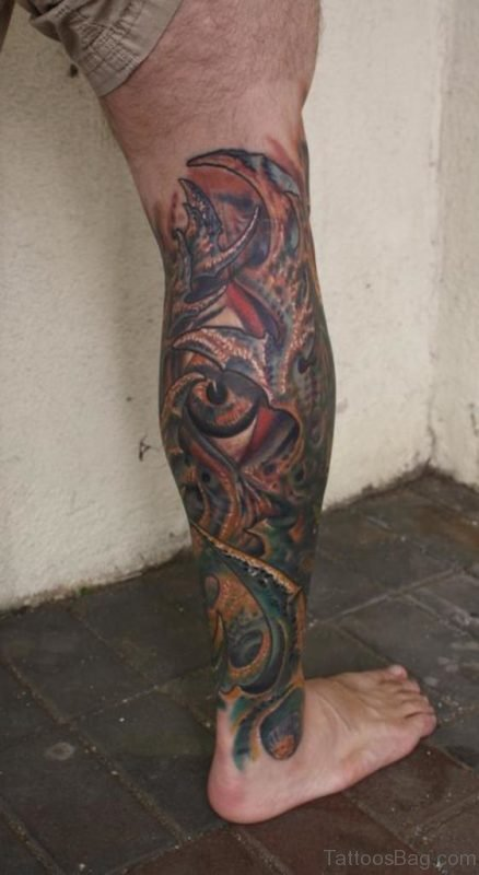 Colored Biomechanical Leg Tattoo