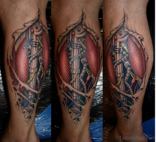 Colored Biomechanical Tattoo Design