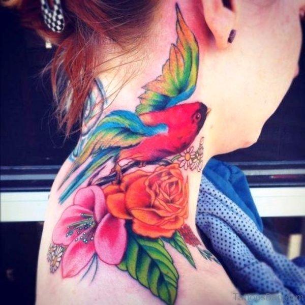 Colored Bird Tattoo On Neck