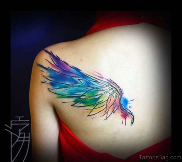 Colored Bird Wings Tattoo