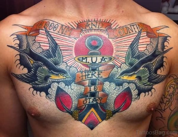 Colored Birds And Anchor Tattoo