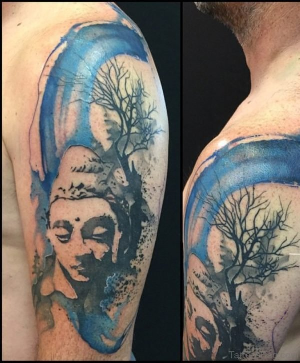 Colored Buddha Tattoo For Shoulder