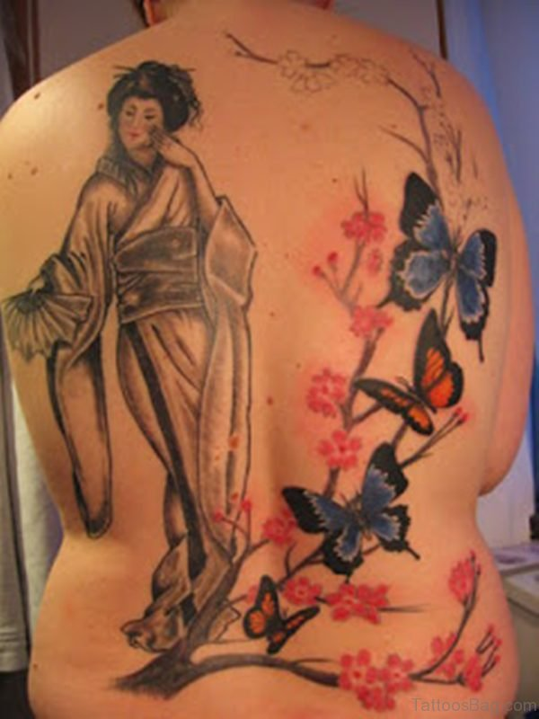Colored Butterfly And Geisha Tattoo