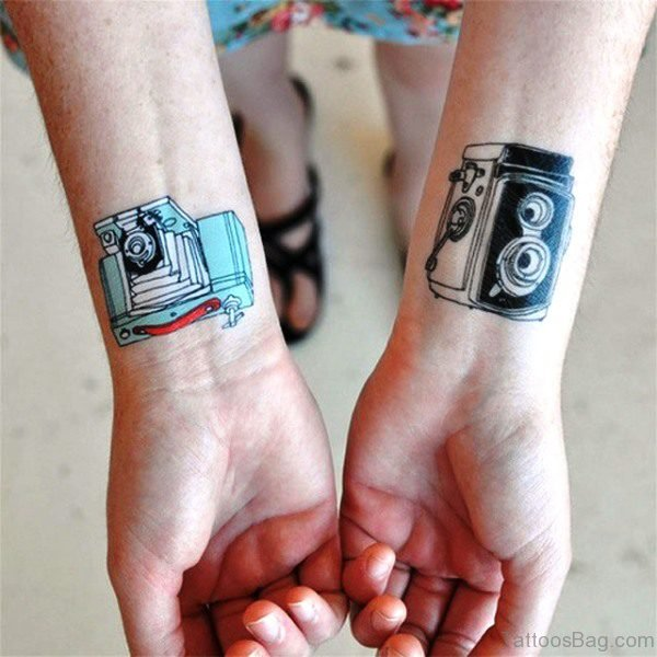 Colored Camera Wrist Tattoo