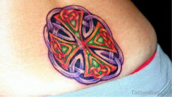 Colored Celtic Cross Tattoo