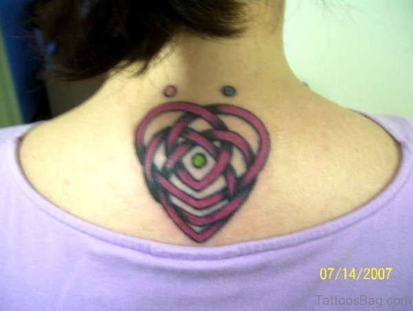 Colored Celtic Tattoo On Neck