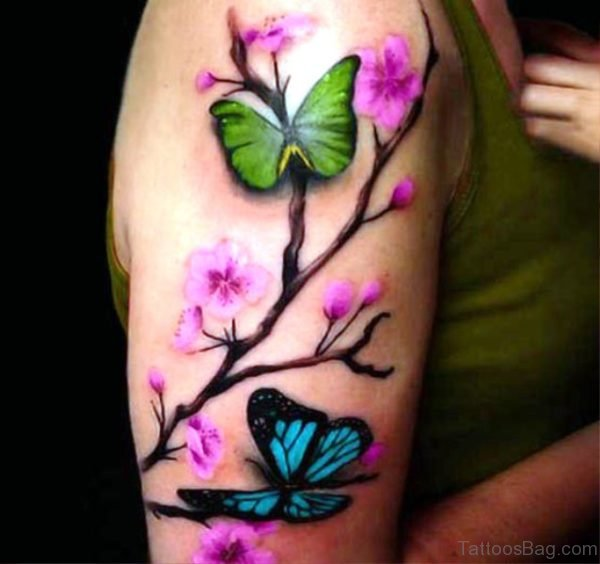 Colored Cherry Blossom Flower Tattoo On Shoulder