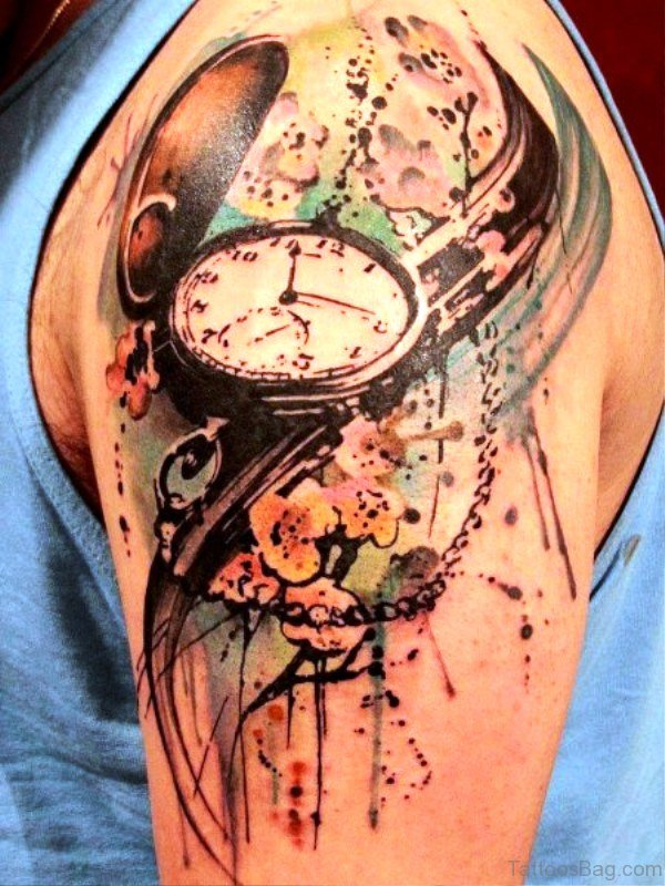 Colored Clock Tattoo Design