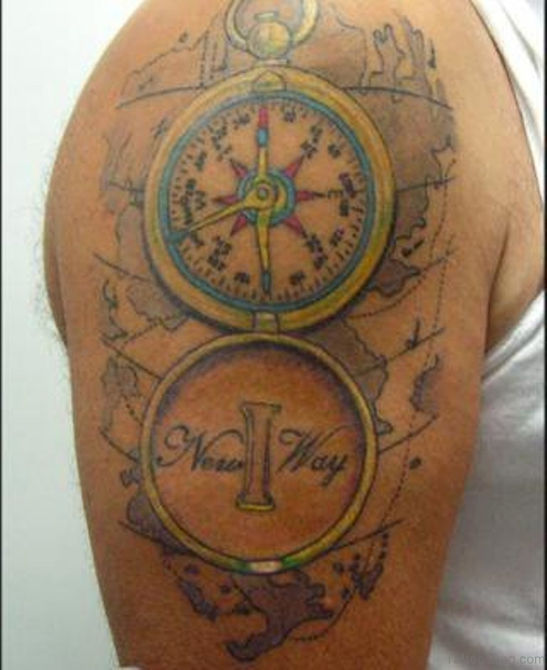 Amazing Compass Tattoos On Shoulder