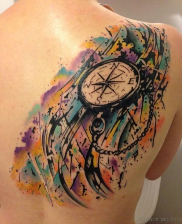 Colored Compass Tattoo