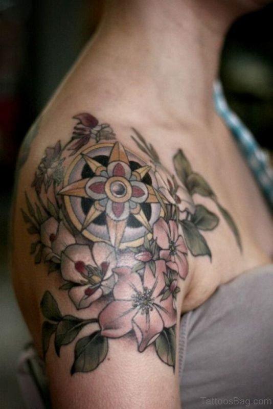 Colored Compass Tattoo Design