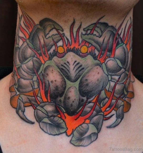 Colored Crab Neck Tattoo