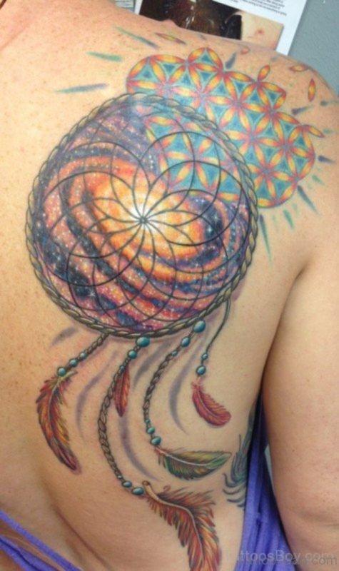 Colored Dreamcatcher Tattoo On Back Shoulder