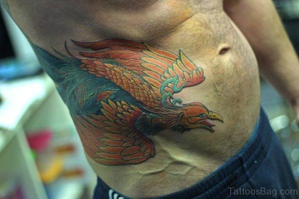 Colored Eagle Tattoo On Rib