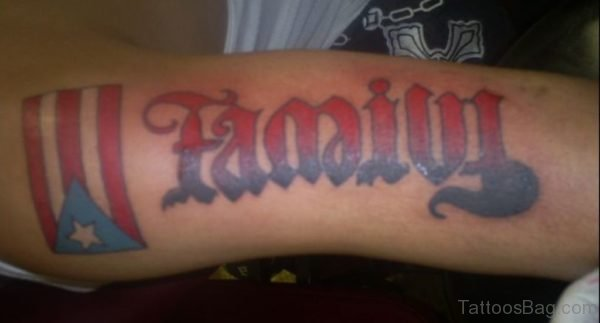 Colored Family Ambigram Tattoo On Arm