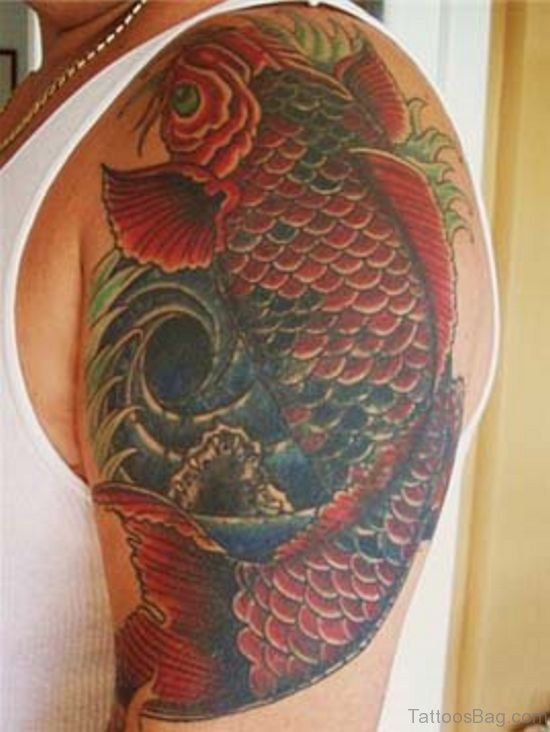 Colored Fish Tattoo Design On shoulder