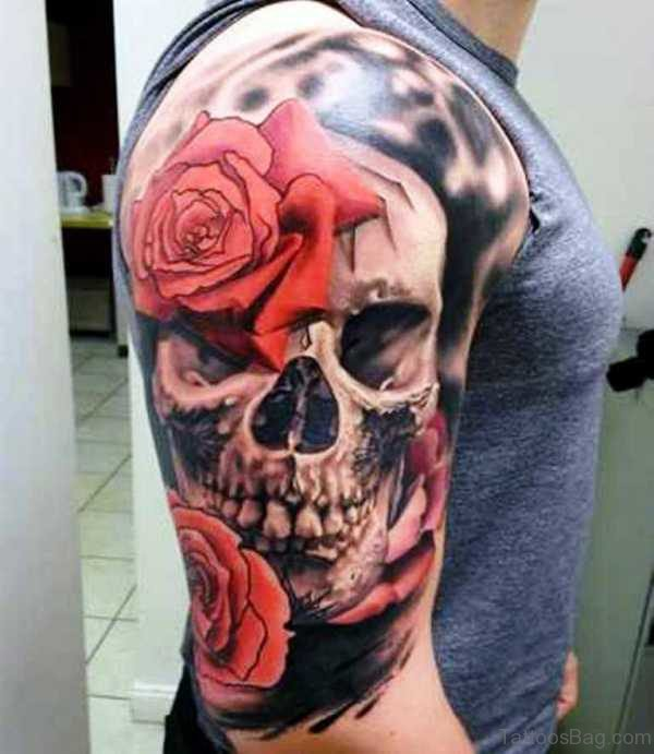Colored Flower Skull Tattoo