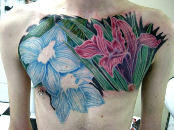 Colored Flower Tattoo For Chest