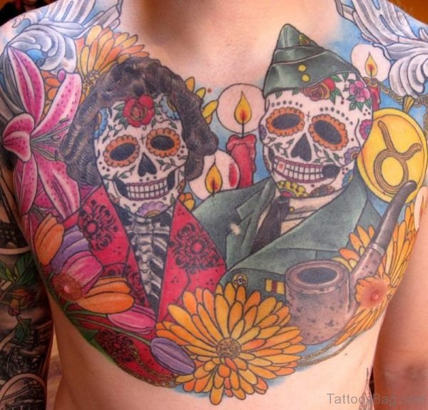 Colored Flowers And Skull Tattoo