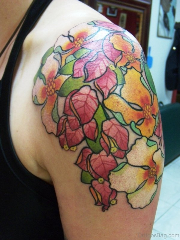 Colored Flowres Tattoo On Shoulder